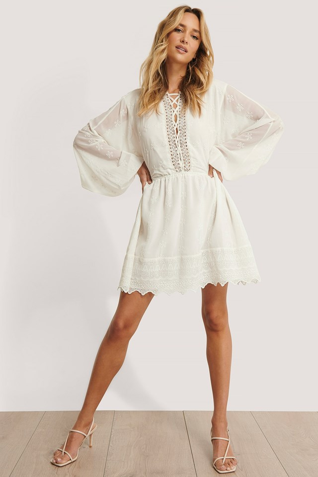 Lace Up LS Mini Dress