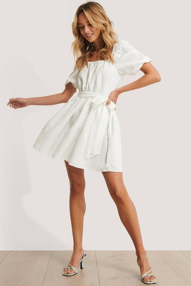 Tie Waist Structured Mini Dress