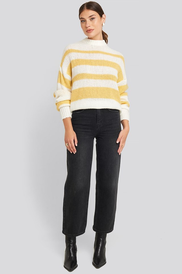 Striped Round Neck Oversized Knitted Sweater