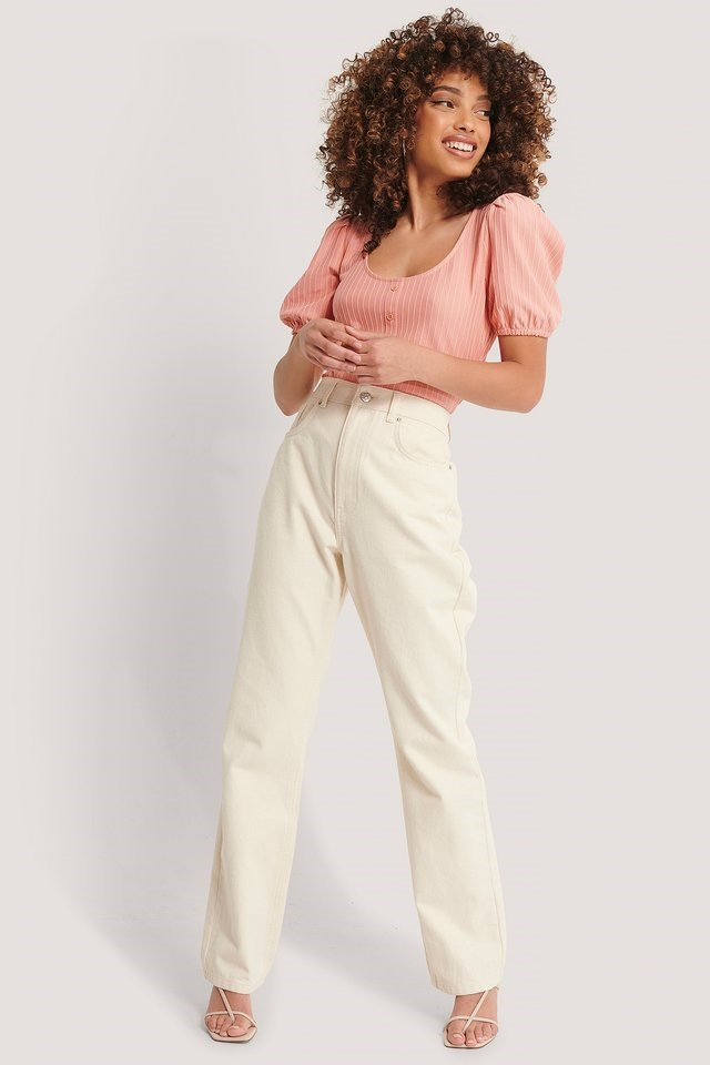 Ribbed Puff Sleeve Button Top Outfit