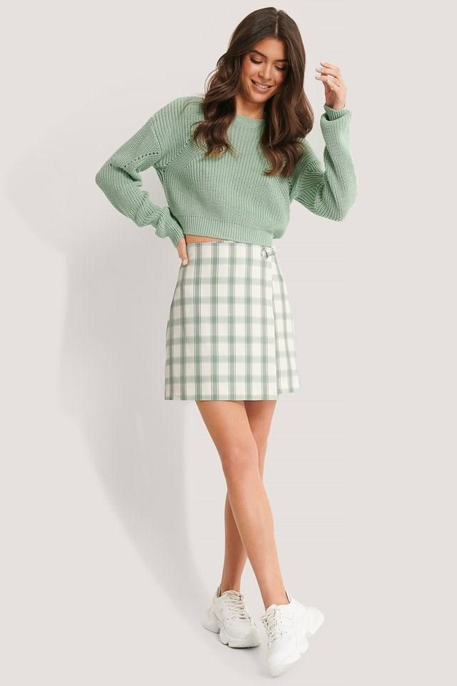 Overlap Checked Mini Skirt
