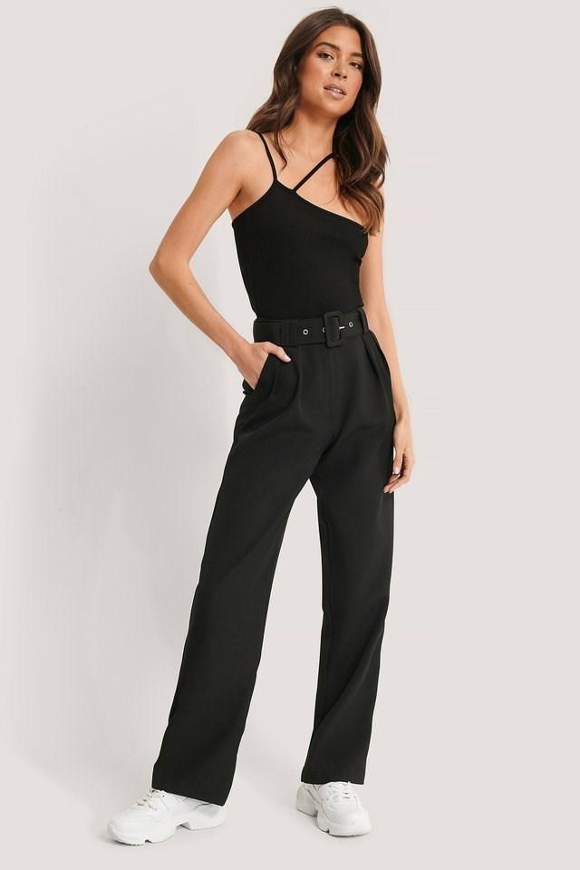 Black Belted Straight Leg Suit Pants