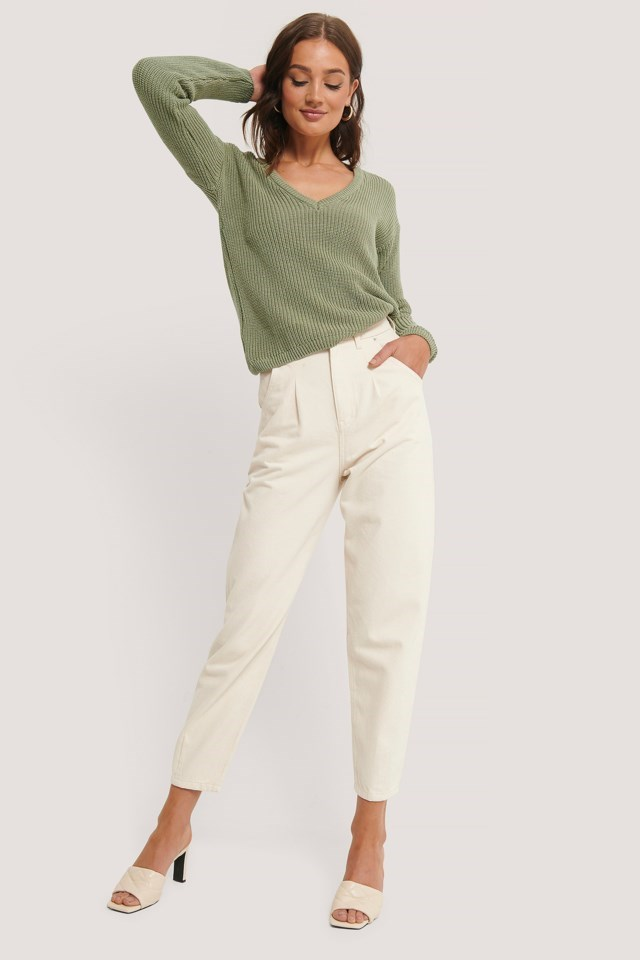 Deep Front V-neck Knitted Sweater