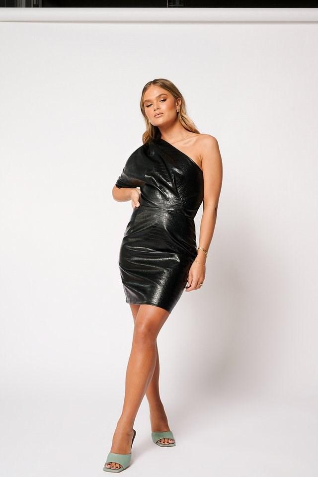Faux Leather One Shoulder Dress