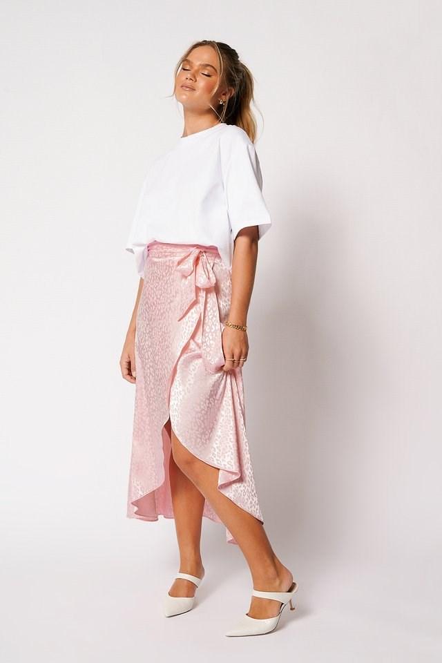 Overlapped Satin Tie Waist Skirt