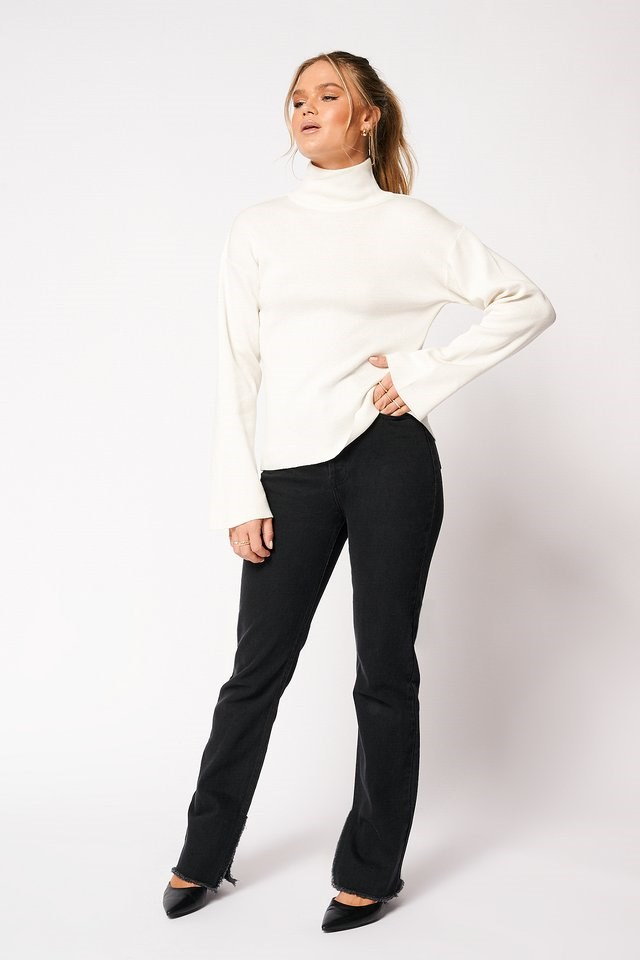High Collar Open Back Knitted Sweater