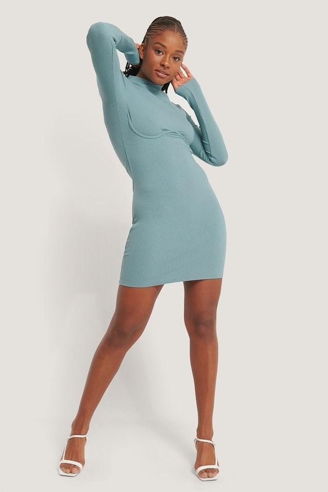 Wire Detail Jersey Dress