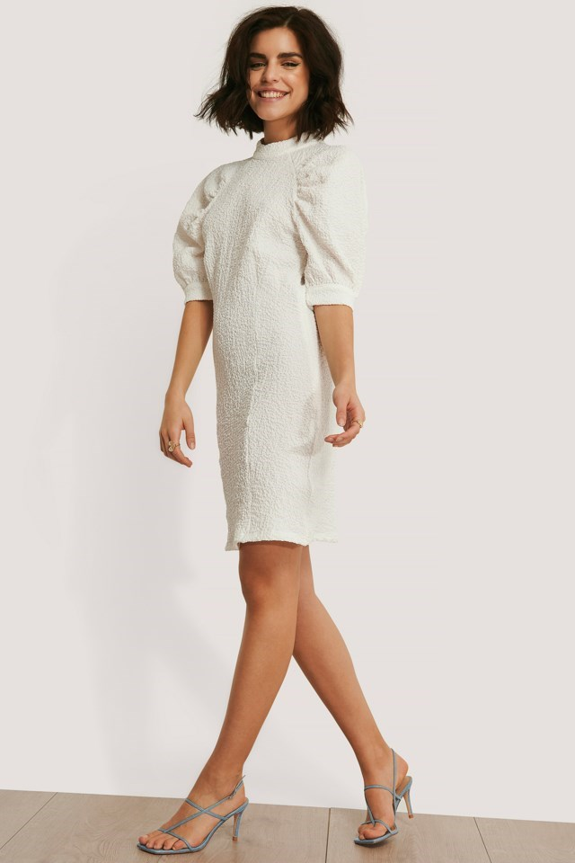 Structured Fitted Puff Sleeve Dress