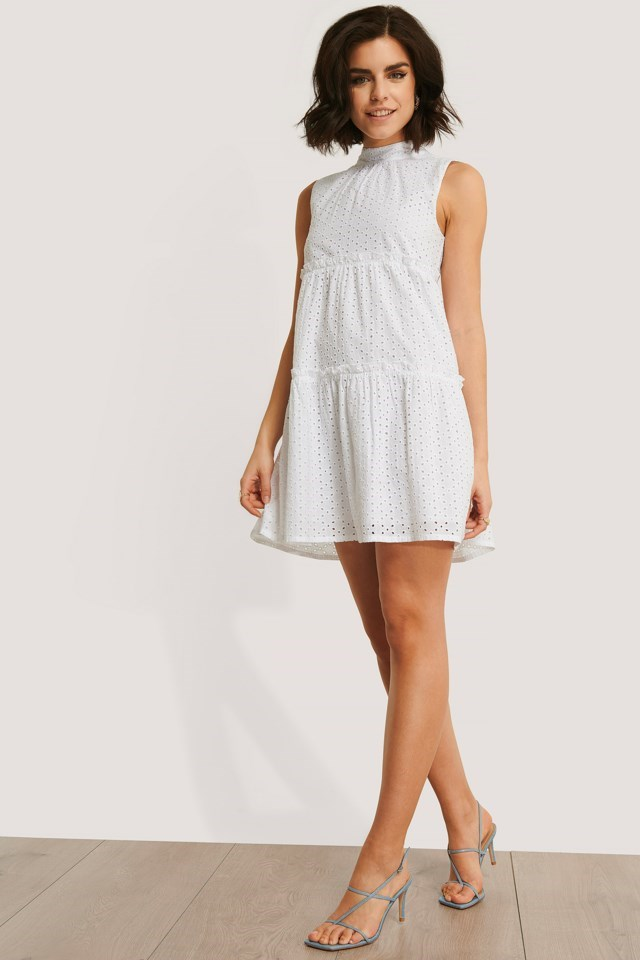 Tie Neck Anglaise Dress