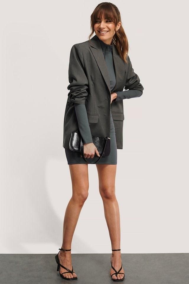 Front Zipper LS Dress