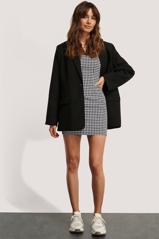 Houndstooth Fitted Mini Dress