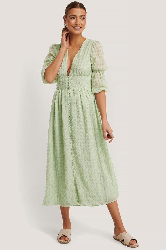 V-Shape Flowy Puff Sleeve Dress