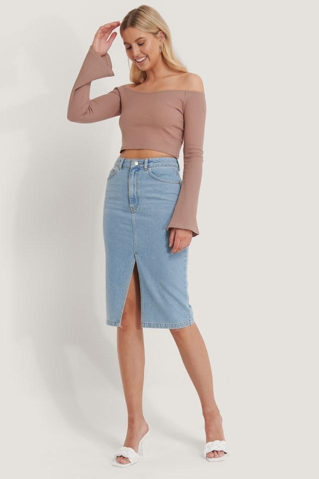 Bare Shoulder Rib Top