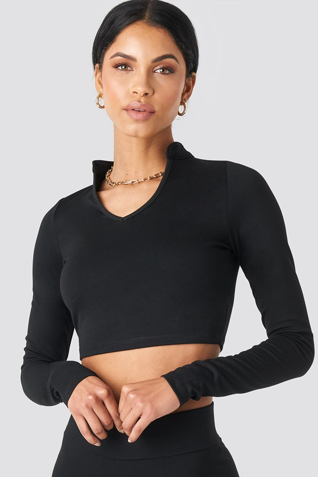 W Collar Long Sleeve Top Black