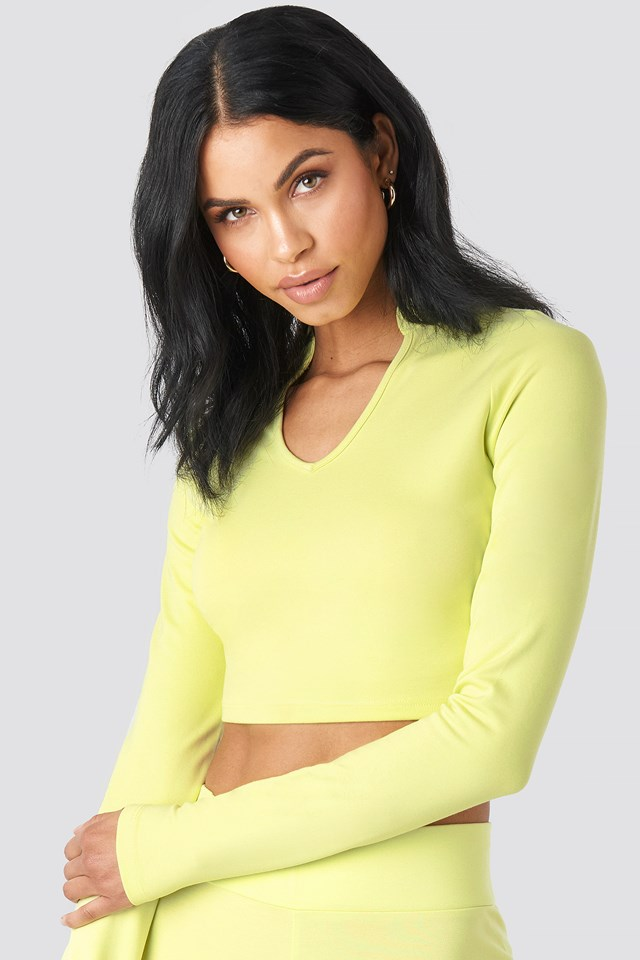 W Collar Long Sleeve Top Lime