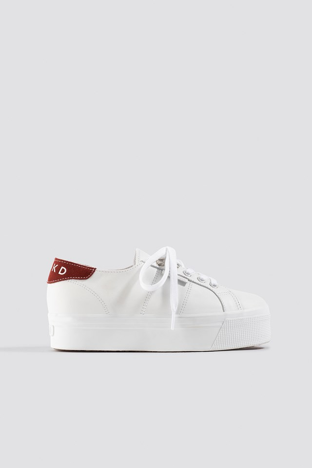 Leather Flatform Sneaker White/Red