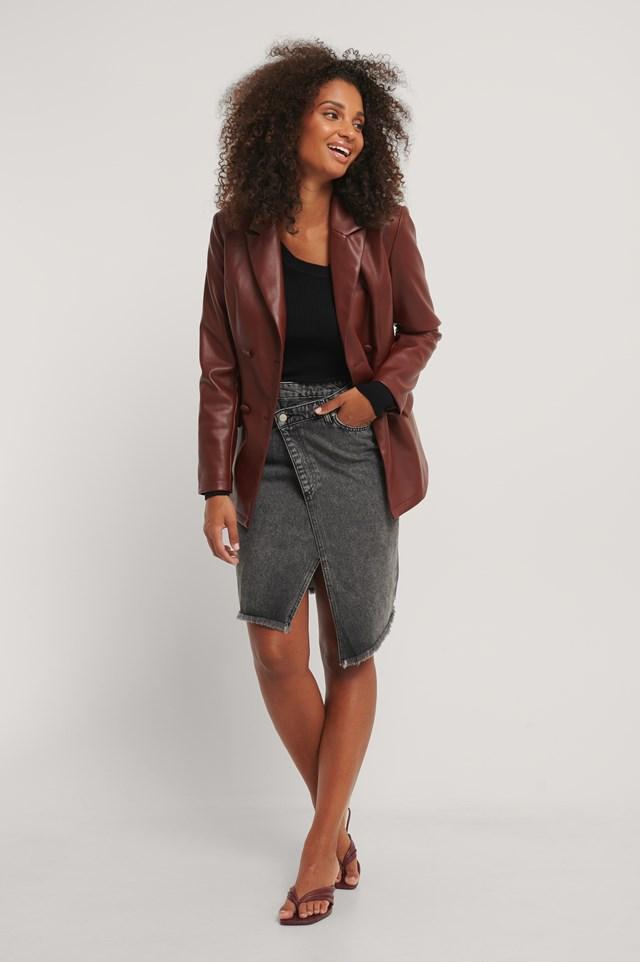 Asymmetric Denim Skirt Black