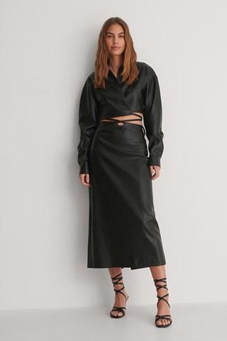Black Tie Waist PU Skirt