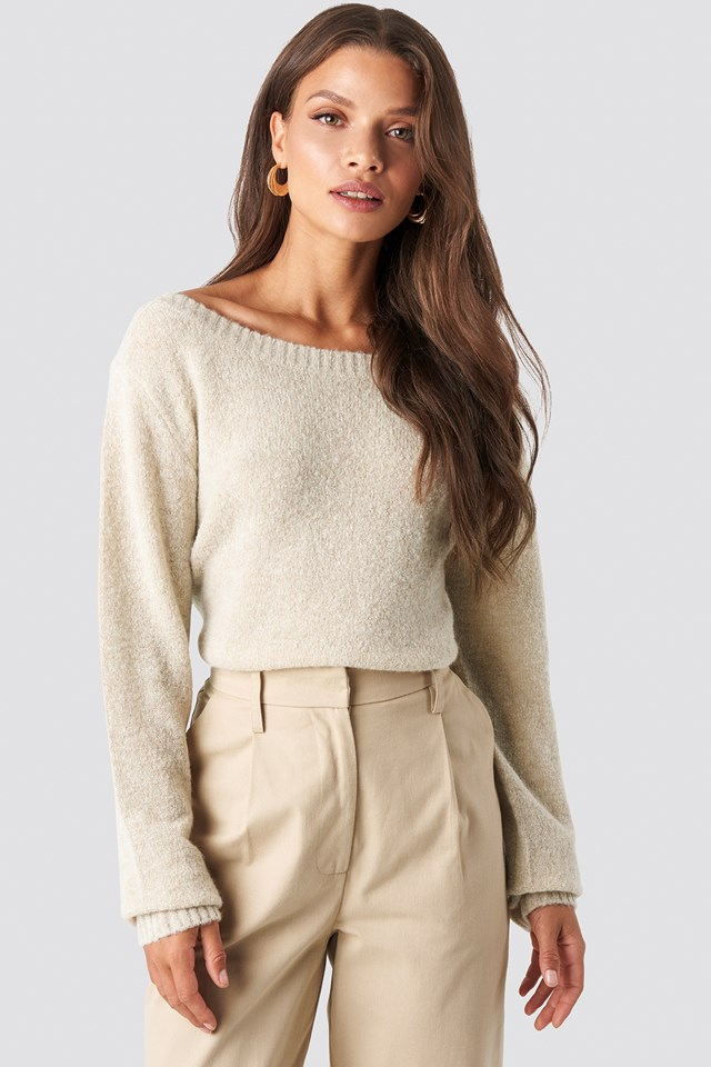 Boat Neck Knitted Sweater Tina Maria x NA-KD