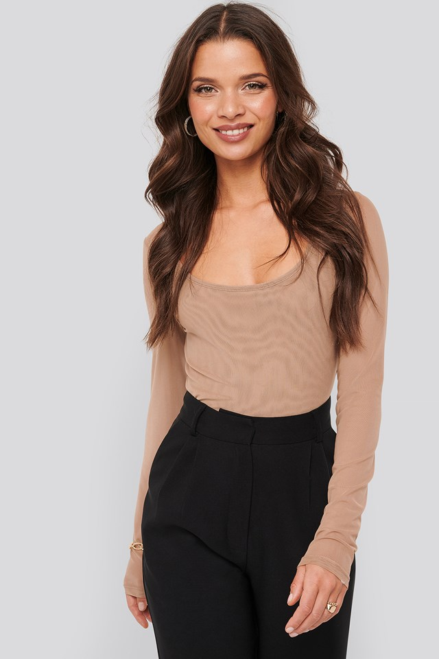 Cropped Mesh Top Taupe