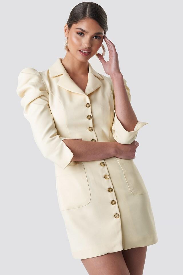 Front Button Blazer Dress Off White
