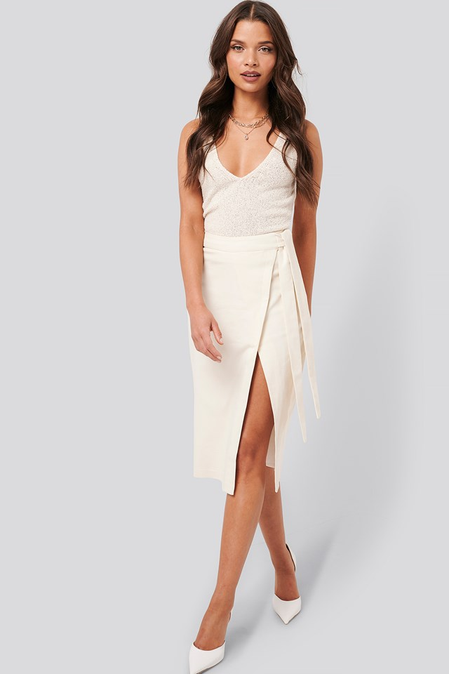 Overlapped Tied Waist Skirt Off White