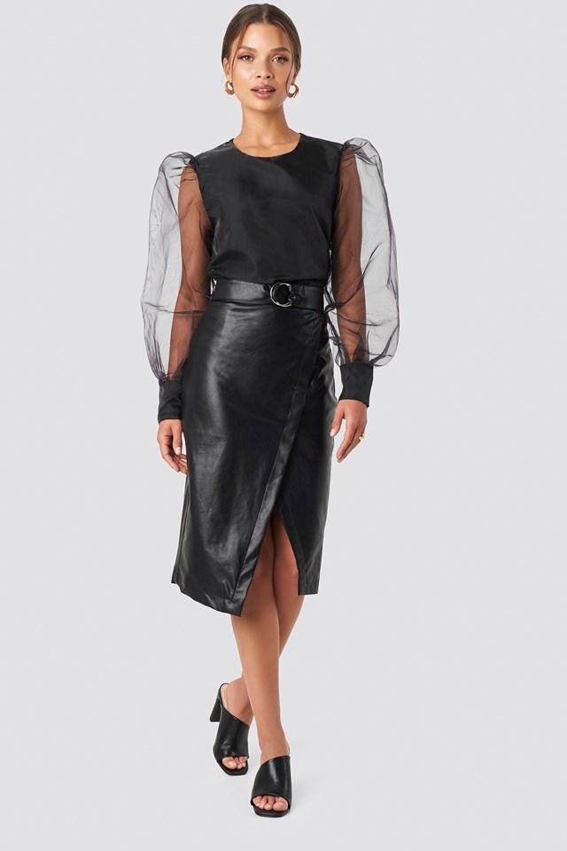 Overlapped Faux Leather Midi Skirt Black