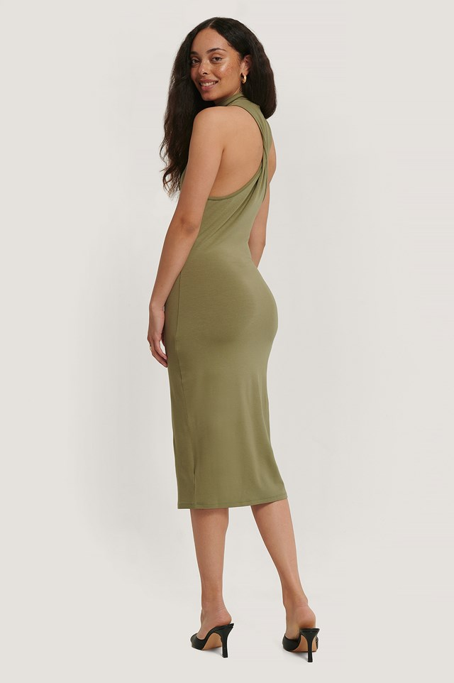 Back Twist Jersey Dress Khaki
