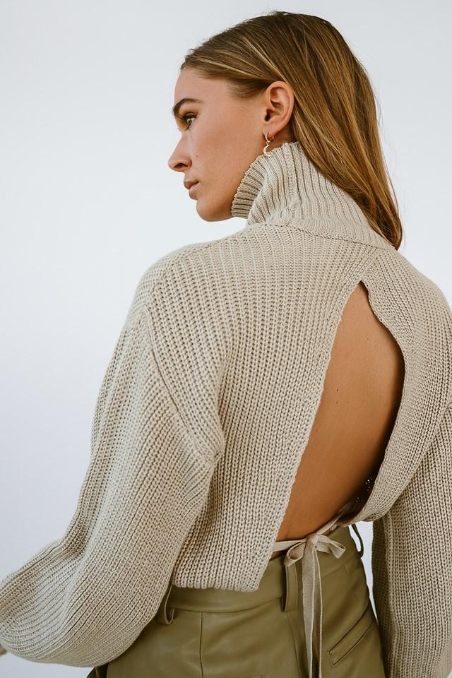 Open Back Knit Sweater Beige