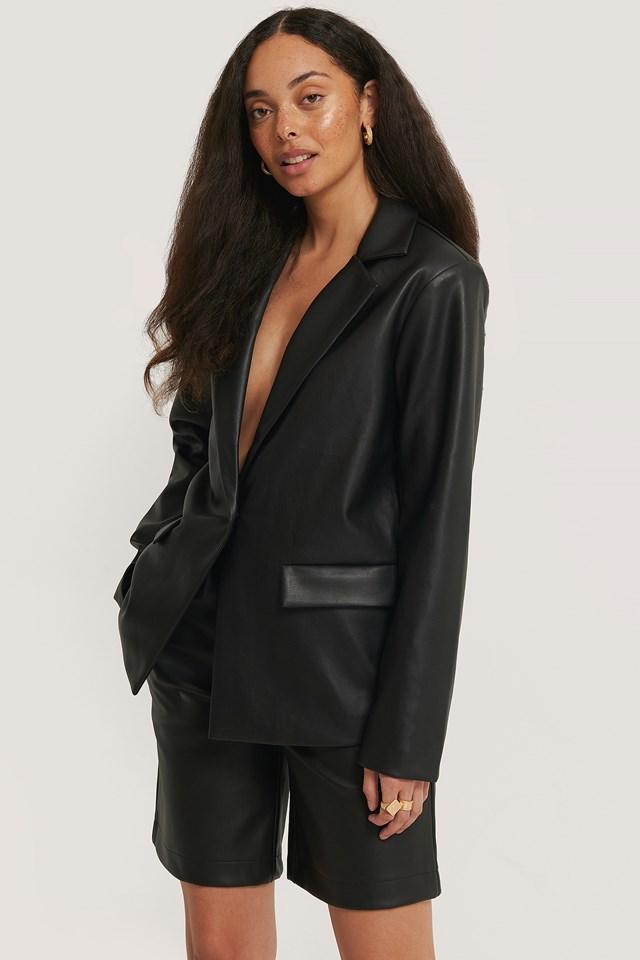Oversized PU Blazer Black