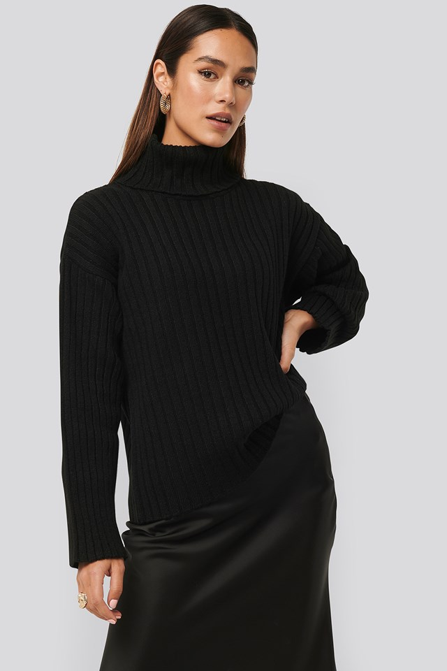 Oversized Ribbed Knitted Sweater Black