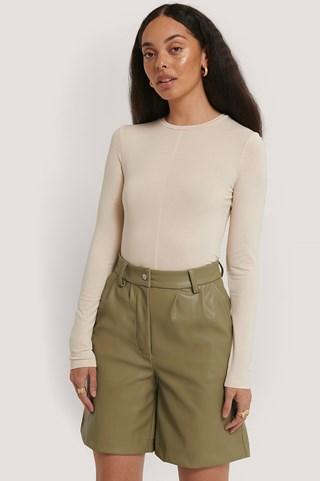 Khaki PU Shorts