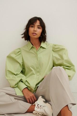 Light Green Maxi Balloon Sleeve Shirt