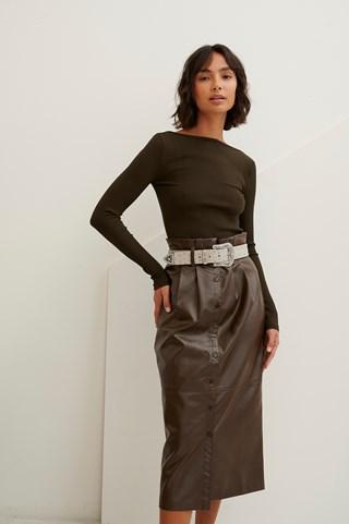 Brown Paperwaist Pu Midi Skirt