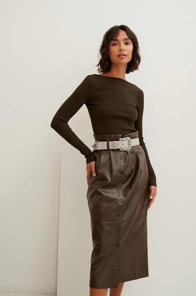 Paperwaist Pu Midi Skirt Brown