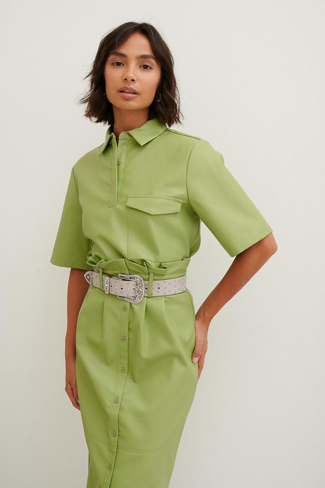 PU Button Shirt Green