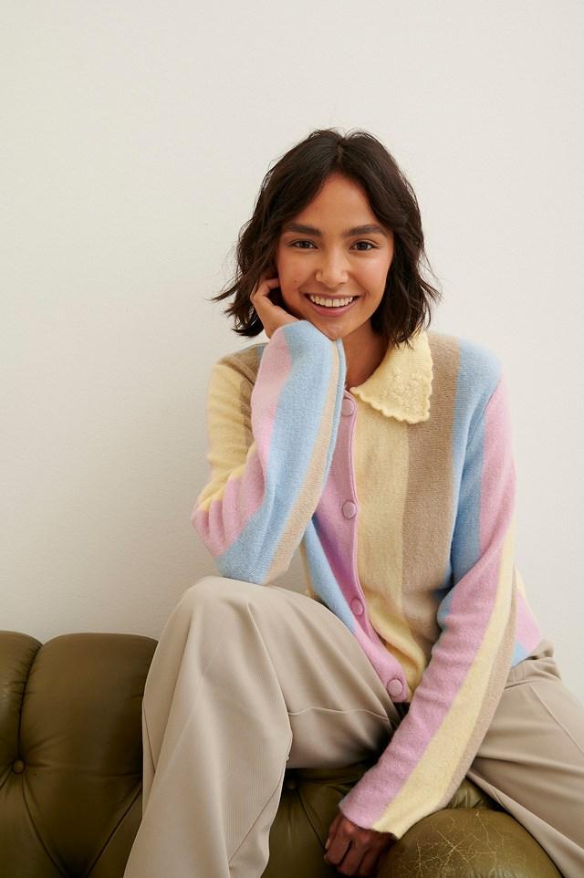 Short Buttoned Cardigan Multicolor