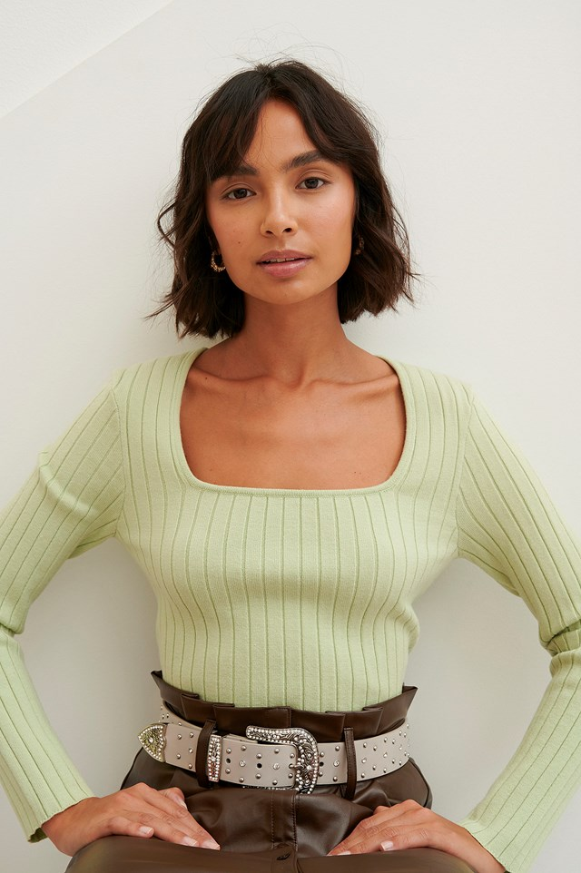 Square Neck Top Light Green