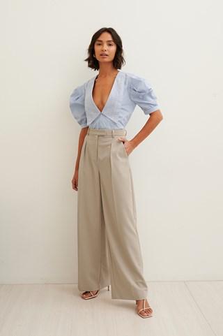 Grey Straight Suit Pants
