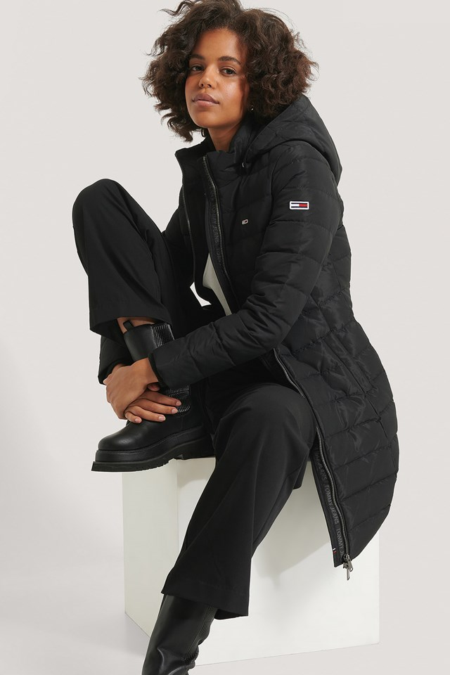 Quilted Down Coat Black