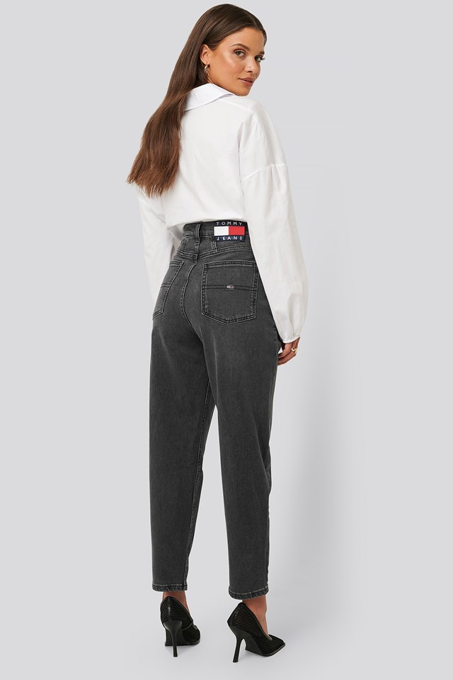 Tapered High Rise Mom Jeans Denim