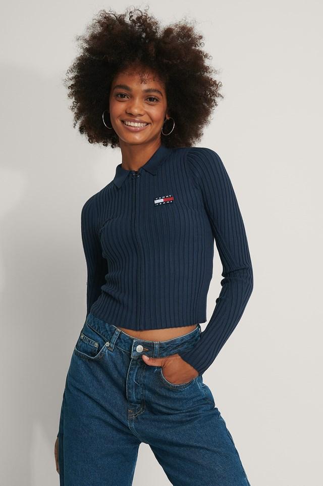 Zip Thru Sweater Blue