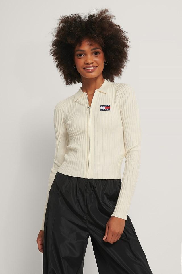 Zip Thru Sweater White