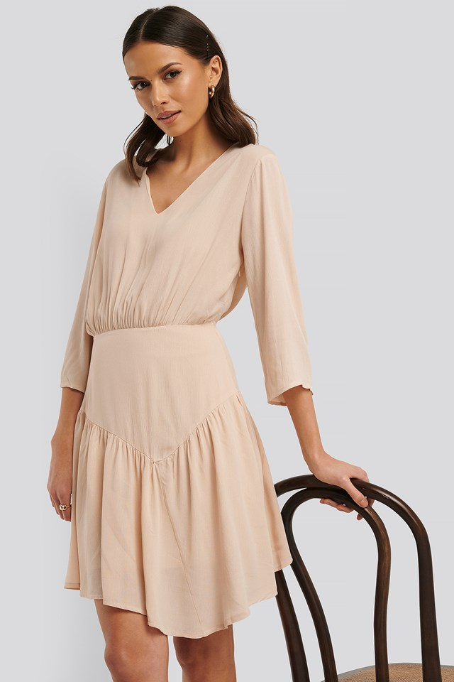 Asymmetric Mini Dress Beige