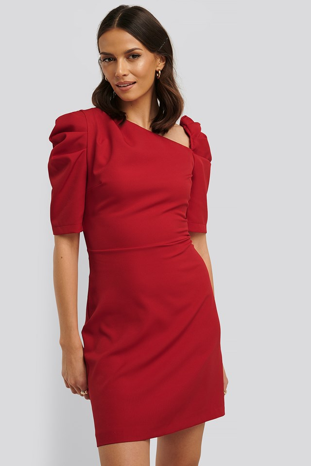Asymmetric Neck Mini Dress Red