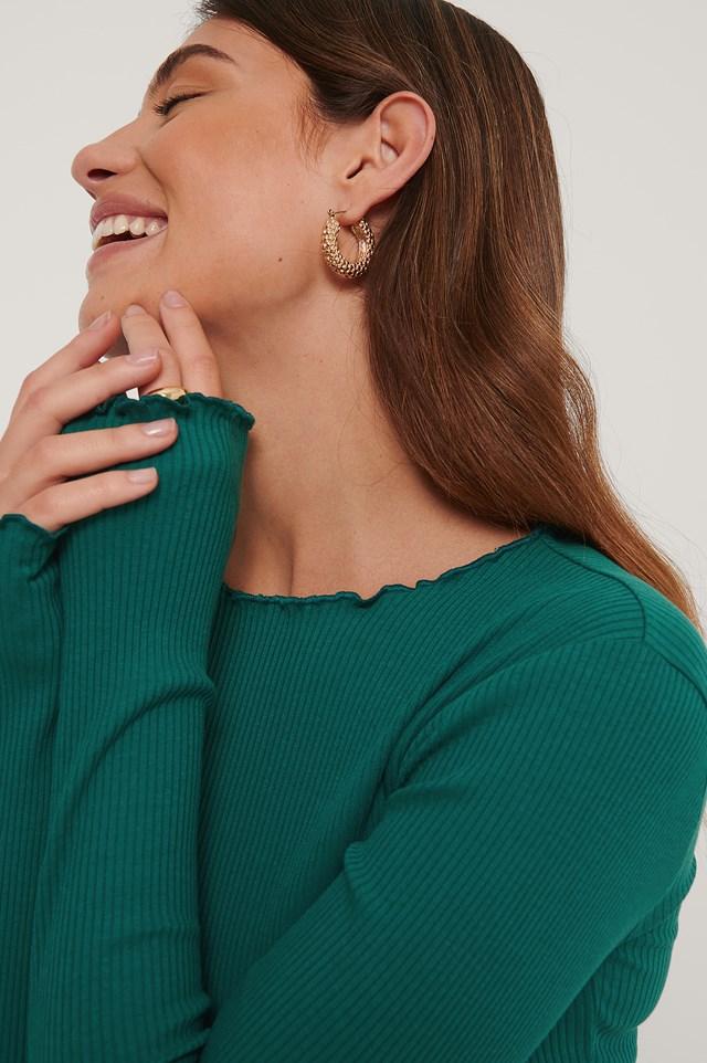 Babylock Ribbed Long Sleeve Top Green