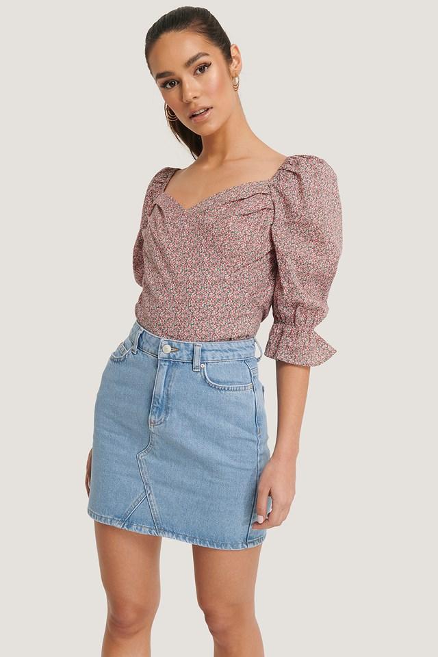 Basic Denim Skirt Blue