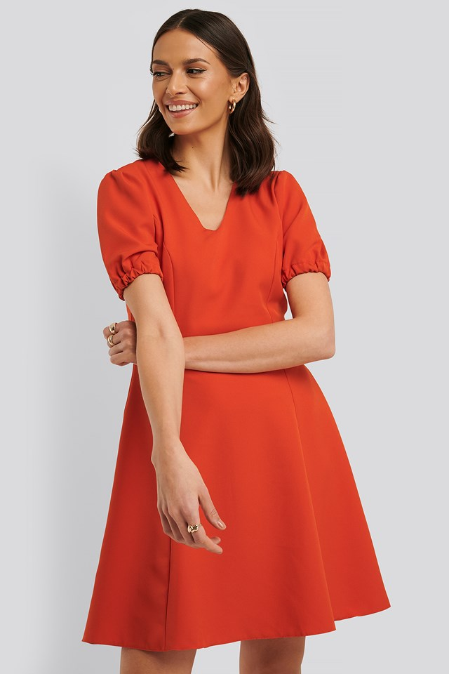Basic Mini Dress Vermilion