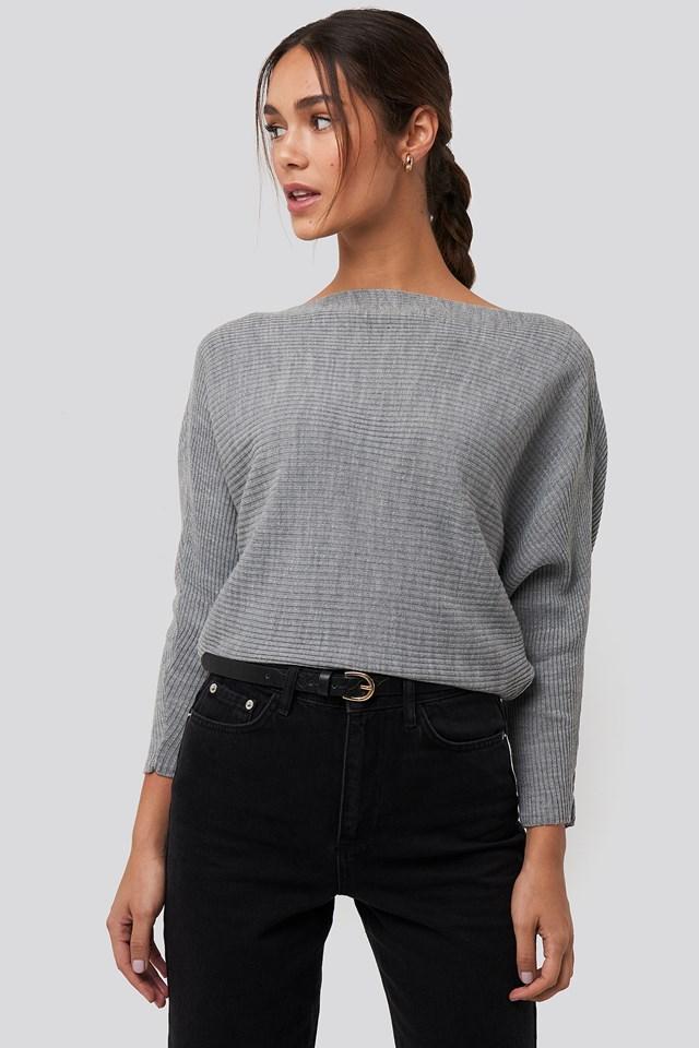 Gray Bat Sleeve Sweater