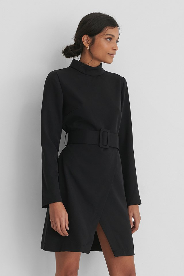 Belt Detail Mini Dress Black